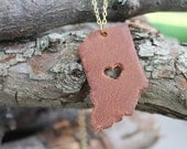 World Travel Leather Pendant Necklace... USA Heart in Indiana
