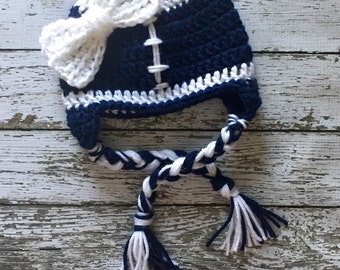 New York Giants Inspired Little Miss Football Beanie in Navy and White Available in Newborn to 5 Years Size- MADE TO ORDER