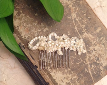 bridal lace hair comb - OUR LOVE - bridal headpiece - bridal fascinator - wedding - ivory champagne
