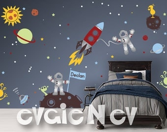 Custom Flag Name Outer Space Wall Decals with Astronauts and Aliens, Rocket, Planets, UFO Children Wall Decor - Kids Wall Decals - PLOS040