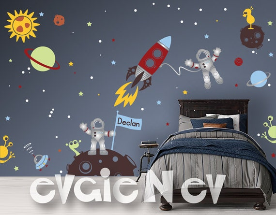 Custom flag name outer space wall decals with astronauts and for Outer space vinyl wall decals