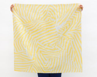 Stripe furoshiki (yellow) Japanese eco wrapping textile/scarf, handmade in Japan
