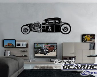 Rat Rod Wall Decal,  Man Cave, Man Cave Sticker, Automotive Sticker, Race Car, Gift for Guy, Wall Decal,