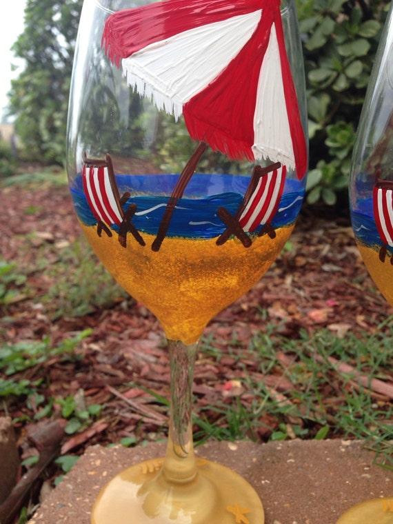 Beach chair and umbrella Wine glass, beach wine glass Beach Bum Wine glass, beach babe, spring break wine glases