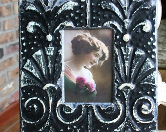 Genuine Antique Ceiling Tin Picture Frame -- 4 x 6 -- Distressed Black Paint -- Unique Design
