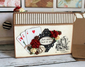 Alice in Wonderland Chipboard Recipe Box