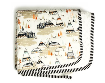 TEEPEES GRAY- Minky blanket and pillowcase set - Gender neutral nursery - Tribal theme nursery - baby bedding