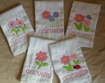 Personalized Flowers Burp Cloth Set