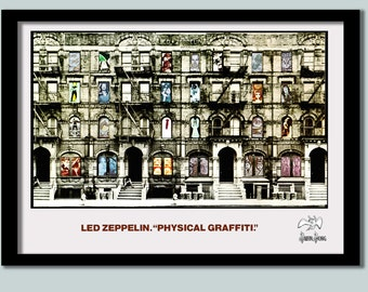 Led Zeppelin Poster . Physical Graffitti Promo No 2 . Large Zeppelin wall art. Rock promo. Classic album poster .vintage rock poster