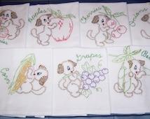 Hand Embroidered-Playful Puppy Fruit & Vegetable Tea Towel/Dish Towel Set