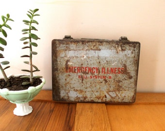 Safety First.  Vintage Industrial Emergency Illness Bell System First Aid Kit Box, Industrial, Metal Box
