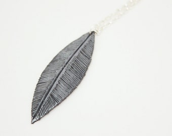 Black and Silver Leaf Necklace
