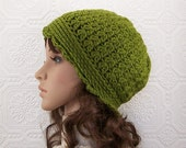 Crochet Womens Hat - Crochet Beanie - Green - winter accessories fall fashion by SandyCoastalDesigns - ready to ship