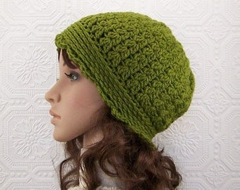 Crochet Women's Hat - Crochet Beanie - Green - winter accessories gift for her fall fashion by Sandy Coastal Designs - ready to ship