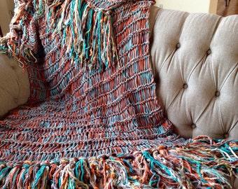 Turquoise Home Decor Turquoise Throw Turquoise Decor Turquoise Blanket Turquoise Afghan with Grey, Orange, Brown