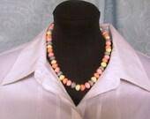 Vintage Beaded Necklace Gray, Cream, Pink, Salmon Circa 1980's