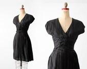 vintage 70s black cocktail dress, keyhole back dress