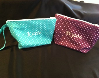 purse with wrist strap, personalized small bag, custom embroidery, bridesmaid's gift
