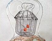 French  vintage wire  folding flower basket shaker
