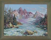 1954 Signed and dated Paint by Number Landscape with Glacier ad-libbed brushwork / 21.5 x 27.5 inches