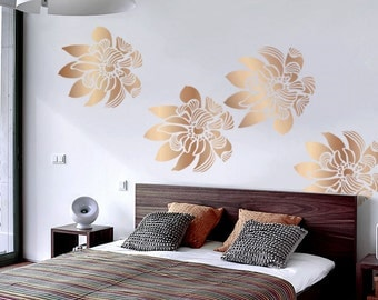 Flower Wall Stencil - Wind Flower - Comes in 3 SIZES! DIY Home Decor wall art, reusable large flower stencils