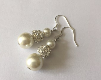 SALE***Ivory pearl earrings with ball rhinestone - Bridal earrings - Bridesmaids earrings