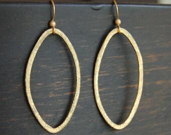 Brushed Gold Oval Hoop Earrings