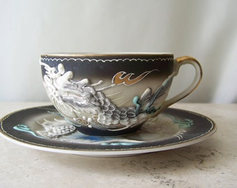 Vintage Dragon Tea Cup and Saucer Hand Painted Porcelain Raised Dragon Relief Black Grey Turquoise 1960s