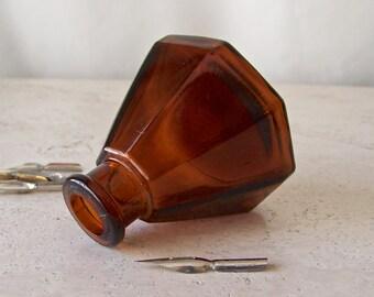 Vintage Ink Bottle Dark Orange Amber Glass Umbrella Open Pontil Ink Pot Calligraphy Writer Collectible Ink Bottle 1970s