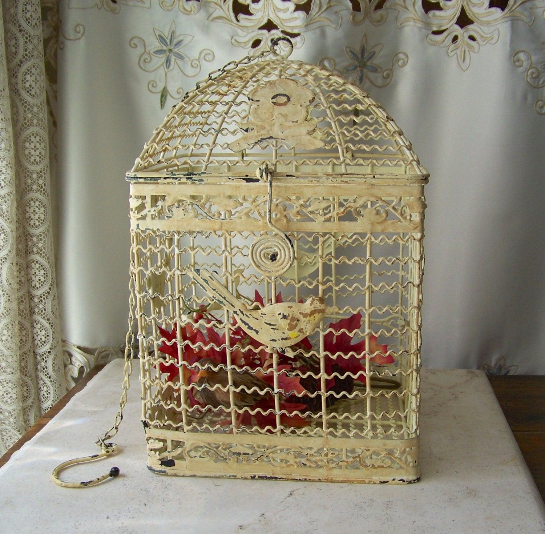vintage bird cage hanging chippy yellow birdcage vintage decor. Black Bedroom Furniture Sets. Home Design Ideas