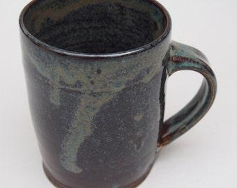 Rustic Stoneware mug with dark blue mottled glaze