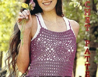 Crochet raspberry color summer top pattern in PDF with charts only for advance level.