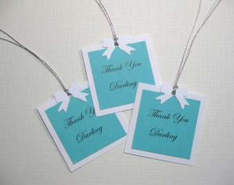 10 Personalized Baby Shower Favor Tags - Audrey Hepburn Breakfast at Tiff... Shower - Baby & Company Tags - Gift Tags - Aqua  Pool Blue Tags