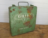 Vintage, Rustic, Industrial First Aid Kit - Green Painted Metal.