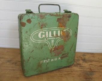Vintage, Rustic, Industrial First Aid Kit - Green Painted Metal.