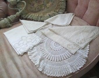 Vintage 6 Pc Mixed Linen Crochet Napkin Doily Lot Doilies Wedding Party Shower Etc X40