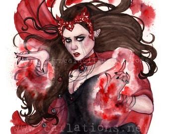 Scarlette Witch Avengers Xmen inspired watercolor art print Carla Wyzgala carlations