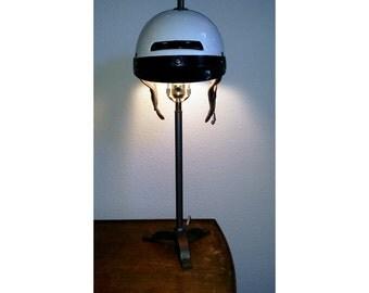 Custom Motorcycle Helmet Table Lamp - Upcycled Salvage Hipster Desktop Light - Repurposed Police Hat - OOAK