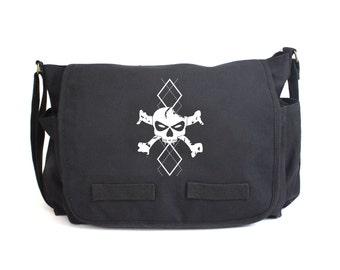 White Argyle Skull and Bones Messenger Bag, Diaper Bag, Crossbody, Punk Diaper Bag, Baby Shower Gift, Men & Women Bag, Messenger Bag