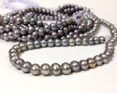 A Grade 5 to 6 mm Large Hole Freshwater Pearl Potato Beads - Gray 1.6 mm hole (ET3006Q3)