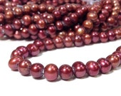 Full Strand 7 mm Large Hole Freshwater Pearl Potato Beads - Cranberry 1.6 mm hole (ET3006CB58)