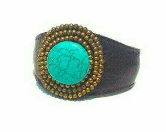Leather and Turquoise beaded cuff