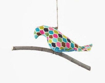 Bird on a Twig in Grey Floral and Girly Prints ~ Home Decor ~ Room Decor ~ Photo Prop