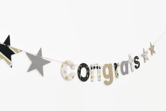 Party Banner ~ Mini Banner ~ Fabric Banner ~ Congratulations Banner ~ CONGRATS Collection