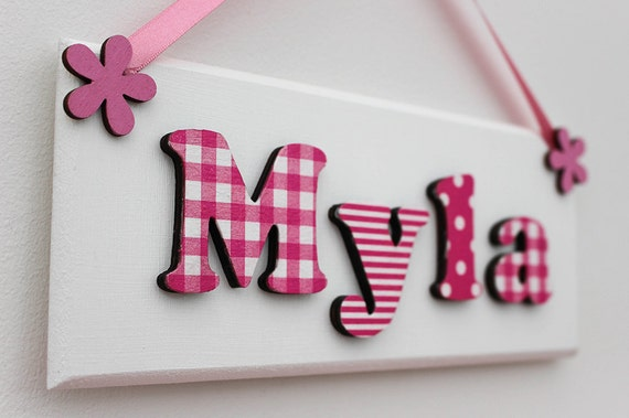 Girl 39 s wooden door sign name plaque with pink and white for Door name signs
