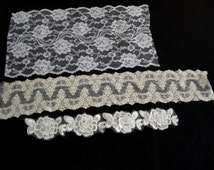 Three Pieces of White and Ivory Floral Laces Alencon Trim Tambour Style Bridal Wedding Victorian Style Scalloped for Lingerie Sewing 107