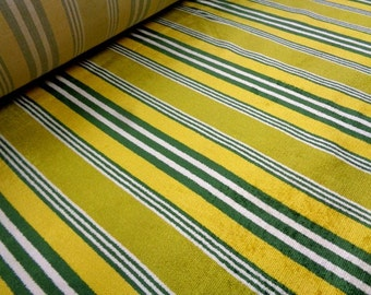 """Plush Vintage 55"""" Wide Chartreuse White Lime Green Yellow Stripe Upholstery Retro Mod Decor Chenille Fabric for Bench Ottoman Chair ST"""