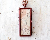 window locket pendant necklace, mixed media jewelry, mixed media pendant, rustic, antique copper, wanderlust necklace, map necklace