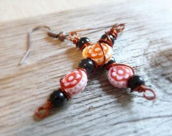 Red and Orange Flower Dangle Earrings, Black Glass Bead Earrings, Wire-Wrapped Earrings, Copper Wire Jewelry, Resin Flower Beads