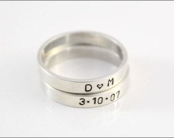 Custom Hand Made Stackable Ring | Your Names, Initials, Dates, or Monogram on Sterling Silver Rings